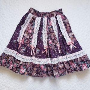 Vintage 80s shabby chic skirt square dance floral